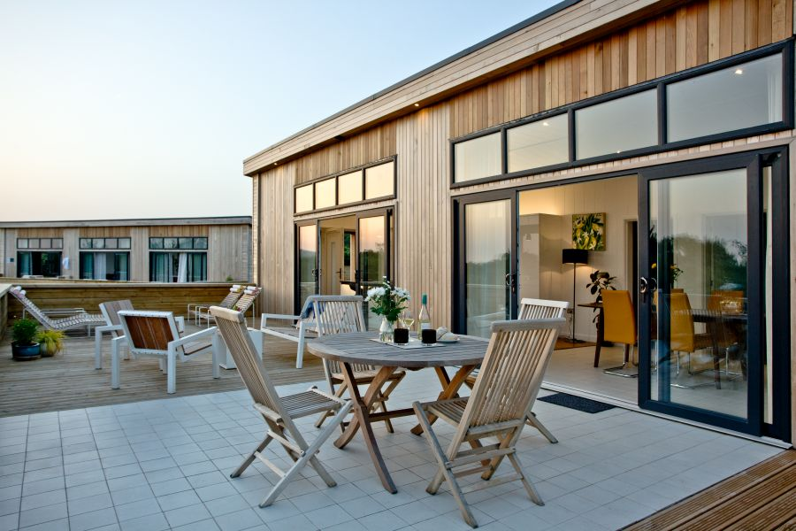 Decking of Burrington with large windows and outside seating