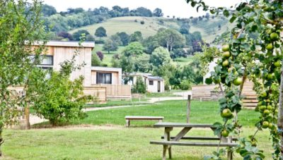 Lodges from the orchard
